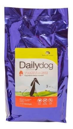 Сухой корм для щенков Dailydog Puppy Medium Breed, для средних пород, индейка и рис, 3кг