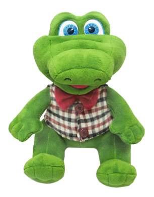 Мягкая игрушка LAVA Крокодил в жилетке с бантиком музыкальный 19 см