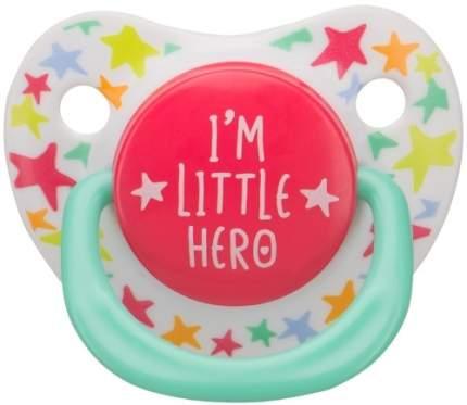 Силиконовая соска-пустышка Happy Baby I'm a Little Hero ортодонтической формы, 12-24 мес.