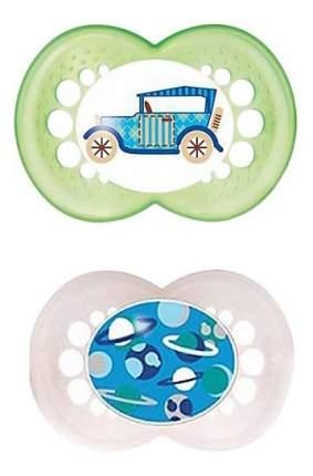 Набор детских пустышек MAM Original зеленая и белая (автомобиль, планеты)