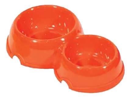 Двойная миска для кошек и собак Дарэлл, пластик, 2шт. в ассортименте, 0,1 л + 0,2 л