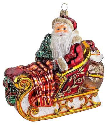 Елочная игрушка Mister Christmas Дед Мороз в санях GW-18 Бордовый