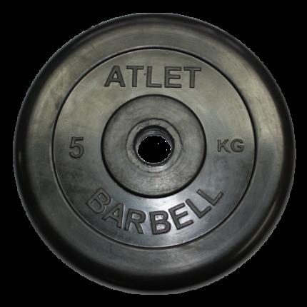 Блин обрезиненный MB Barbell Atlet 5 кг сталь 31 мм черный
