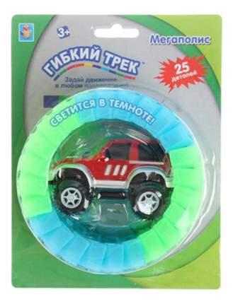Машинка для треков Большое путешествие и мини трасса светится в темноте 1Toy 25 деталей