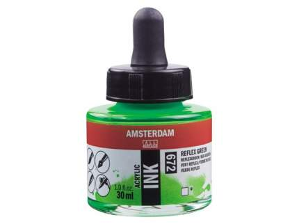 Акриловые чернила Royal Talens Amsterdam №672 зеленый отражающий 30 мл