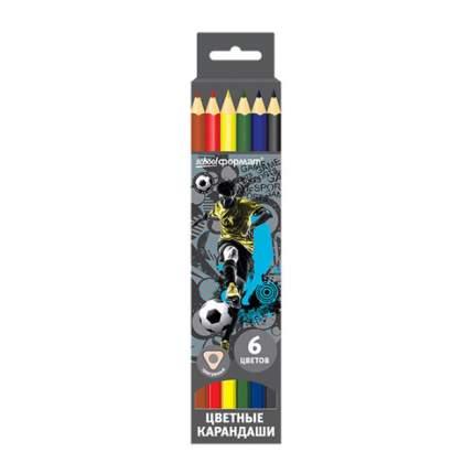Набор цветных карандашей ФУТБОЛ 6 цв. трехгранные