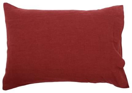 Наволочка изо льна бордового цвета Essential 50х70