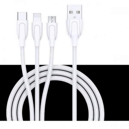JOYROOM Yue USB кабель 1.2m 3 in 1 Lightning + USB Type-C + micro USB S-M355 white