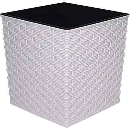 Prosperplast Кашпо с контейнером Ротанг квадрат, 20 см белый