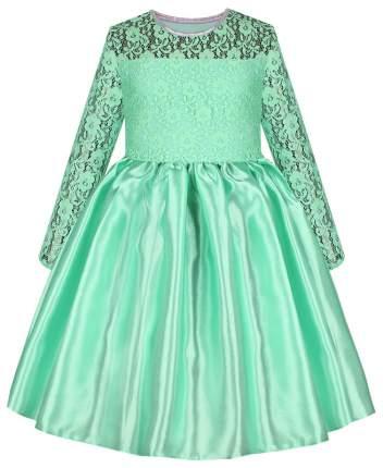Нарядное ментоловое платье Радуга Дети для девочки с гипюром р.116