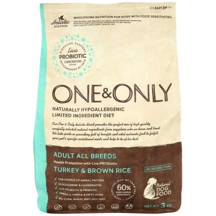 Сухой корм для собак ONE&ONLY Adult All Breeds Turkey&Rice, все породы,индейка с рисом,3кг