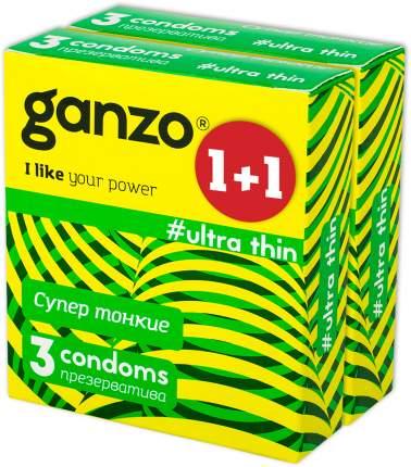 Презервативы Ganzo ultra thin ультратонкие 2 упаковки по 3 шт.