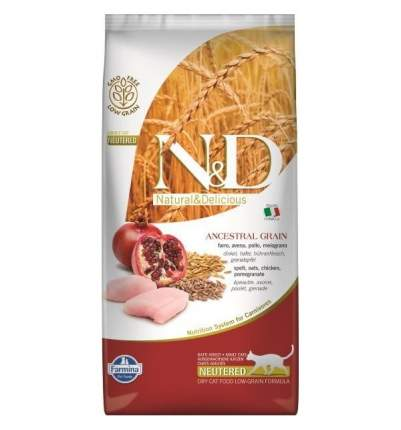 Сухой корм для кошек Farmina N&D Ancestral Grain Neutered, курица, гранат, 10кг