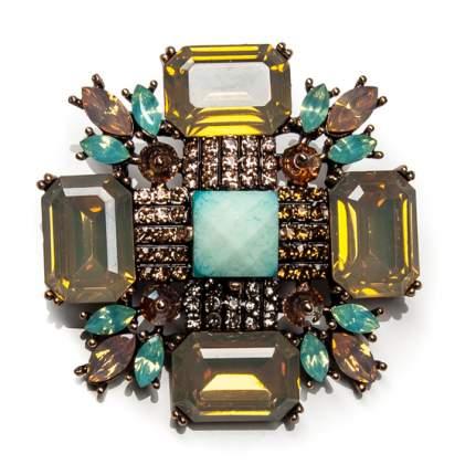 Брошь Moon Paris викторианский крест с кристаллами и стразами (желтый)