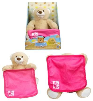 Интерактивная игрушка 1Toy Мишка играет в прятки с розовым одеялом
