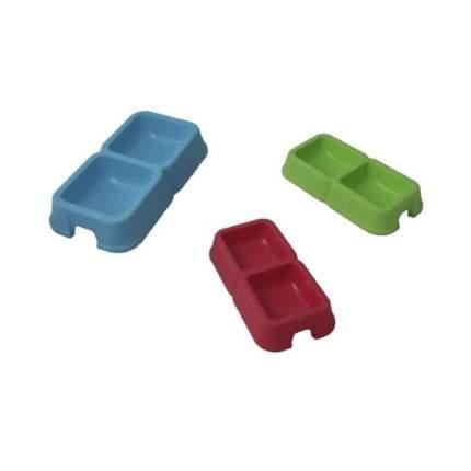 Набор мисок для кошек и собак MP-Bergamo, пластик, голубой, зеленый, красный, 2 шт по 0,3л