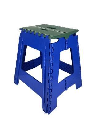Табурет Трикап складной пластиковый большой, зеленая крышка/синяя основа