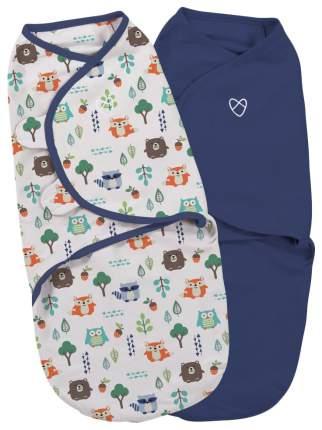Конверты для новорожденных 2 шт. Summer Infant Swaddleme синий/лесные зверята