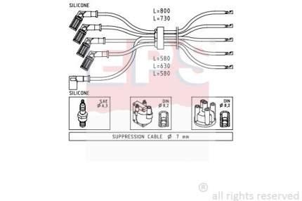 Комплект проводов зажигания EPS 1.500.716