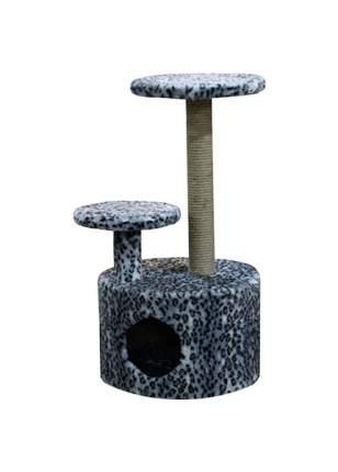 Комплекс для кошек Пушок Круглый со ступенькой Серый леопард