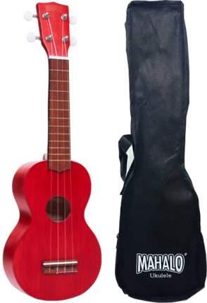 Укулеле Сопрано  с чехлом, цвет Transparent Red, матовый Mahalo Mk1trd