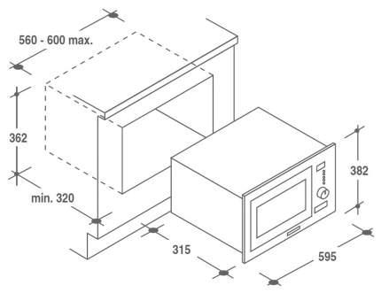 Встраиваемая микроволновая печь Candy MIC 201 EX Серебристый