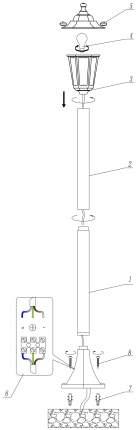Фонарный столб Odeon Light 2322/1F
