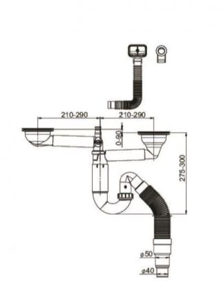 Сифон для кухонной мойки Prevex PL2-D9CF5-SANT-01