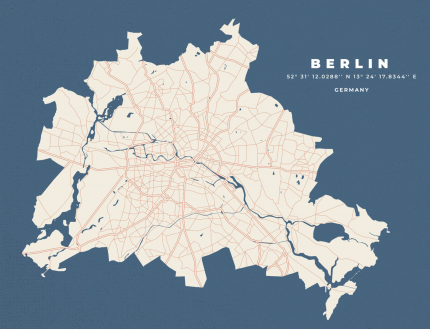 Постер Берлин на карте 50х70 в тубусе