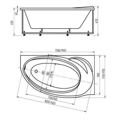 Акриловая ванна Aquatek BET160-0000027