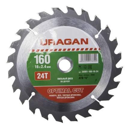 Диск по дереву для дисковых пил Uragan 36801-160-16-24