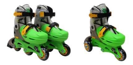 Роликовый коньки Moby Kids 2 в 1 с защитой зеленые р. 27-29