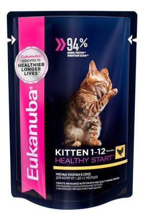 Влажный корм для котят Eukanuba Kitten Healthy Start, курица в соусе, 85г