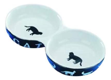 Двойная миска для кошек Nobby, керамика, синий, белый, 2 шт по 0.26 л