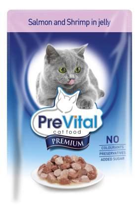 Влажный корм для кошек PreVital Premium, с лососем и креветками в желе, 100г