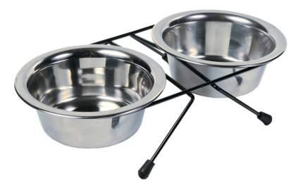 Двойная миска для собак TRIXIE, сталь, серебристый, 2 шт по 0.45 л
