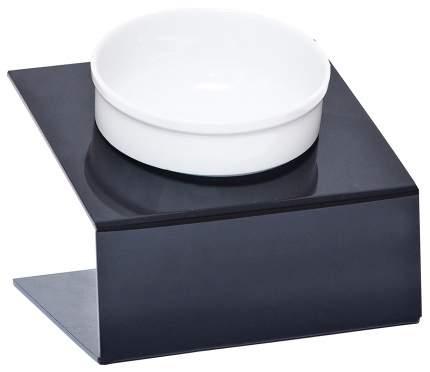 Одинарная миска для кошек и собак АртМиска, керамика, пластик, белый, черный, 0.35 л