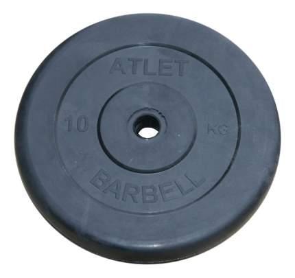 Блин обрезиненный MB Barbell Atlet 10 кг сталь Atlet 26 мм черный