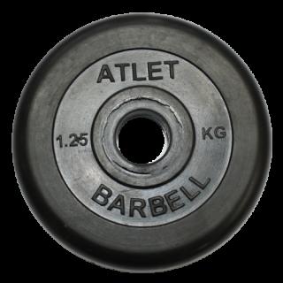 Блин обрезиненный MB Barbell Atlet 1,25 кг сталь 26 мм черный