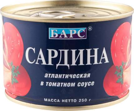 Сардина атлантическая Барс в томатном соусе 250 г