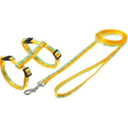 Шлейка и поводок Cameo Косточки-лапки, светоотражающие, желто-салатовый, 10 мм, 30-35 см