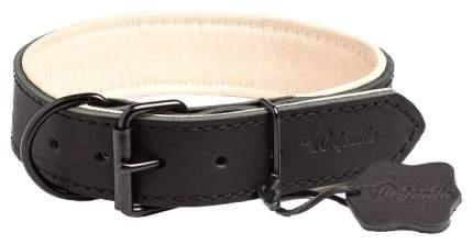 Ошейник для собак Gripalle Гросс, кожаный, стальная черная фурнитура, черный, 40мм х 45см