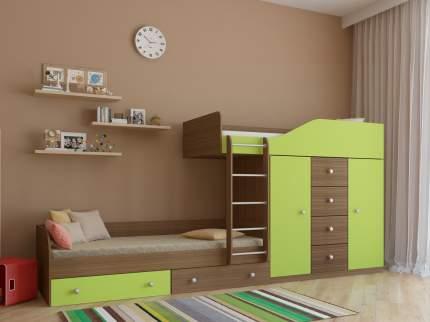 Двухъярусная кровать со шкафом РВ Мебель Астра-6 Дуб Шамони, Салатовый