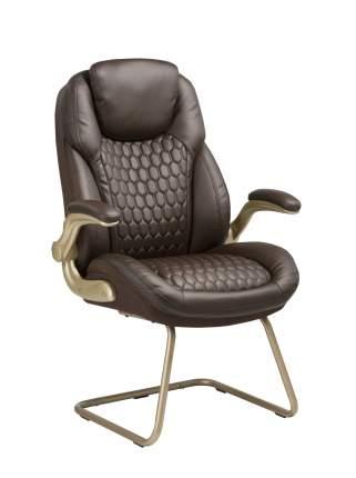 Кресло руководителя Бюрократ T-9917A-LOW-V Коричневая рециклированная кожа / Кожзам