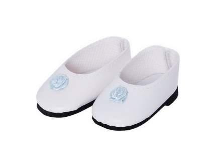 Туфли белые с голубым цветком, для кукол 32 см