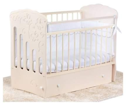 Кроватка детская Островок уюта Бабочка слоновая кость маятник поперечный
