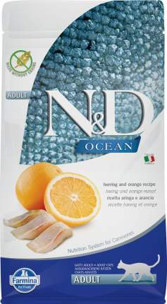 Сухой корм для кошек Farmina N&D Ocean Adult, сельдь и апельсин, 5кг