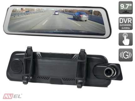 """Потоковое зеркало заднего вида AVEL с монитором 9.7"""" и двухканальным видеорегистратором"""