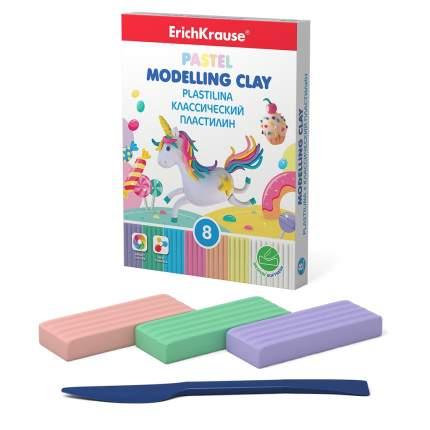Классический пластилин ErichKrause® Pastel 6 цветов + 2 белых со стеком, 144г