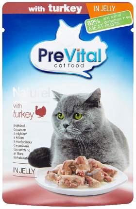 Влажный корм для кошек PreVital Naturel, индейка, 85г